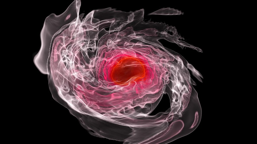Numerical relativity simulation of two inspiraling and merging neutron stars. Higher densities are shown in red, lower densities are shown in pink.