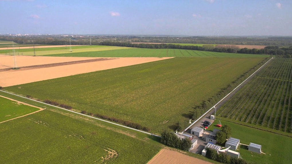 The German-British gravitational wave detector GEO600 near Hannover filmed from the air.